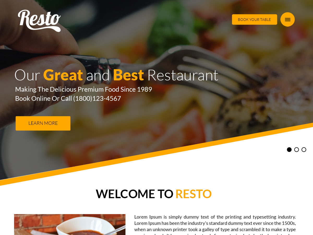 20+ Free Restaurant WordPress Themes 2019 5