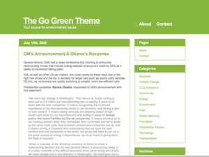 The Go Green Theme screenshot