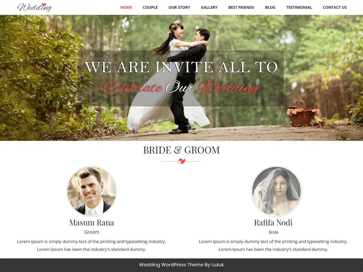 Best Free Wedding WordPress Themes 2018 - EnvoThemes
